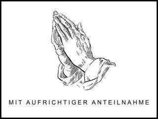 Trauerkarte mit betenden Händen, gezeichnet, schwarz, weiß