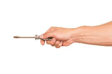 closeup of hand holding a screwdriver