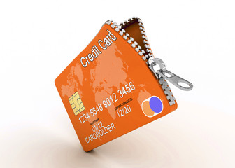 open credit card with zipper, isolated white background, 3d imag