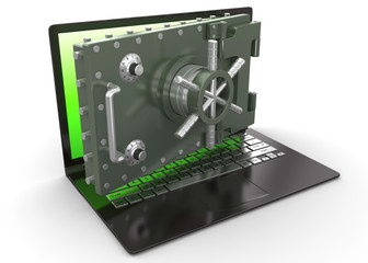 Internet security.Laptop and opening safe