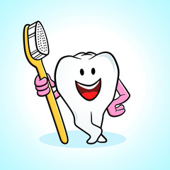 Cartoon tooth holding a toothbrush