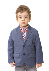 Little boy with jacket on white