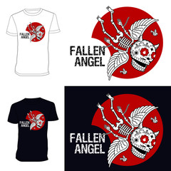 Skeletons. T-shirt. Fallen angel.