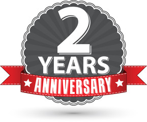 Celebrating 2 years anniversary retro label with red ribbon, vec