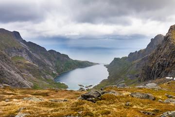 View to mountains near Reine, Lofoten, Norway