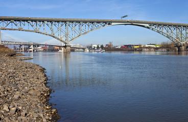 Ross Island bridge and river Portland Oregon.