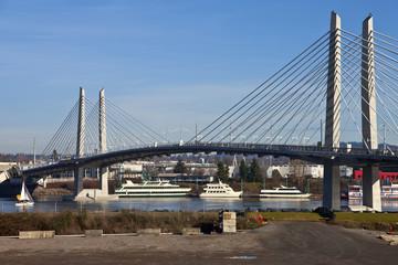 Tilikum crossing and people bridge Portland Oregon.