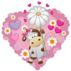 Cow with hearts and flower