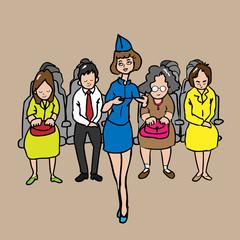 Passenger and air hostess