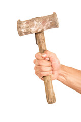 closeup of hand holding a hammer