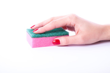 Woman hand holding cleaning sponge