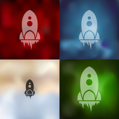 rocket icon on blurred background