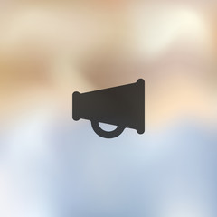 megaphone icon on blurred background