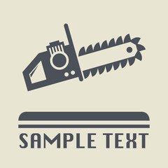 Chain saw icon or sign, vector