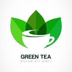 Abstract logo design template. Green tea symbol, natural herbal