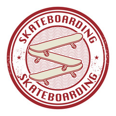 Stamp with text Skateboarding, vector
