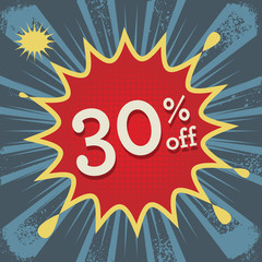 Explosion with text 30 percent off, vector