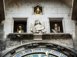 Famous astronomical clock in Prague city