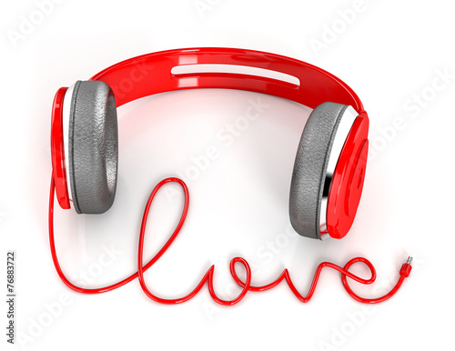 Headphones with love shape cable. 3d illustration isolated