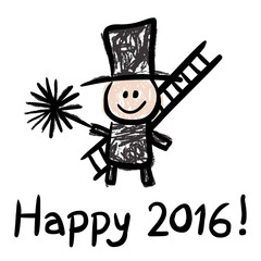 HAPPY 2016! – mit lustigem Schornsteinfeger / Vektor