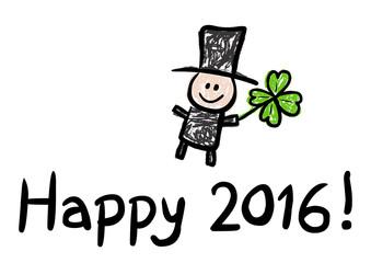 HAPPY 2016! – mit Schornsteinfeger und Kleeblatt, Vektor
