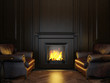 canvas print picture - armchairs and fireplace