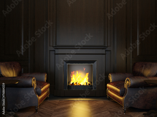 canvas print picture armchairs and fireplace