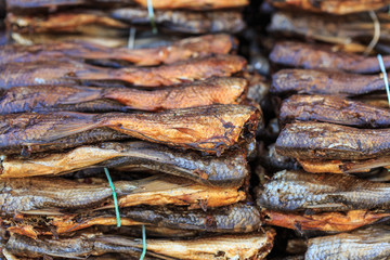 Close up dry fish in Thailand market