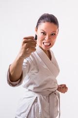 Funny woman in kimono on white