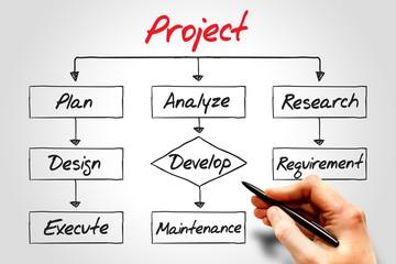 Project process, business concept flow chart