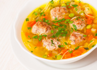 Soup with meatballs, noodle and vegetables
