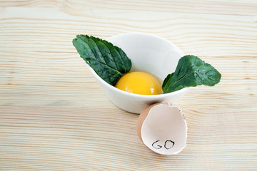 Eggs of different types with mint