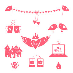 Beautiful pink collection of Valentines Day objects.