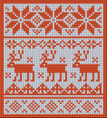 Knitted pattern with reindeer and jacquard flowers