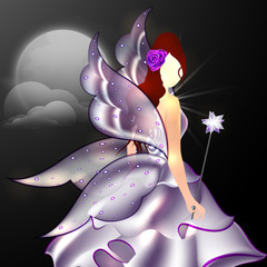 Concept of fairy tales with beautiful angel holding magic stick.