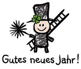 Gutes Neues Jahr! - Schornsteinfeger, Bürste, Leiter, Kleeblatt