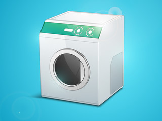 Shiny washing machine on blue background.