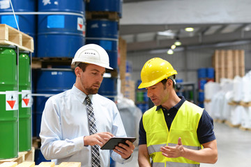 Manager of a logistics company are working instruction