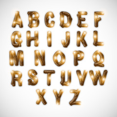Shiny set of English alphabets in capital letter.