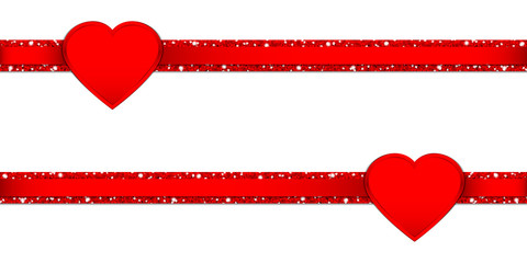 2 Hearts Glitter Ribbon Horizontal Red