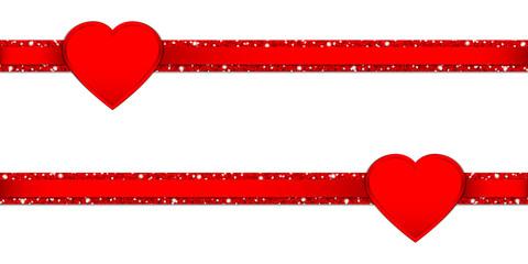 2 Hearts Glitter Ribbon Horizontal Red