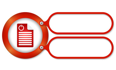 red frames and document icon and power button