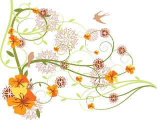 Fantasia con flores y pajaros