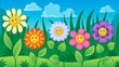 Obrazy na płótnie, fototapety, zdjęcia, fotoobrazy drukowane : Flowers on meadow theme 3