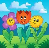 Flowers on meadow theme 1