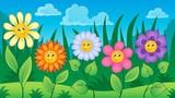 Flowers on meadow theme 3