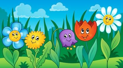 Flowers on meadow theme 2