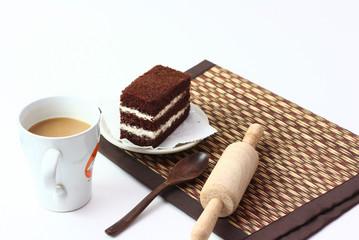 Chocolate cake and coffee.