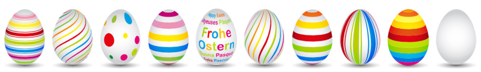 10 colourful easter eggs in modern design