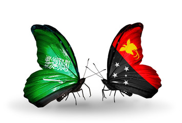 Two butterflies with flags Saudi Arabia and Papua New Guinea